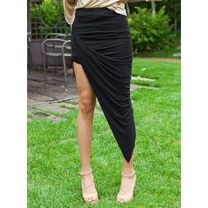Black Color Elastic Waist Irregular Hem Packet Buttock Skirt For Women Black