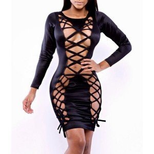 Black Color Hollow Out Design Drawstring Long Sleeve Round Collar Sexy Dress For Women black
