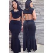 Black Ruffle Maxi Skirt Set