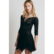 Black Sheer Lace Sleeved Skater Dress
