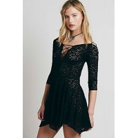 Black Sheer Lace Sleeved Skater Dress
