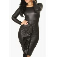 Bodycon Ruffles Splicing Faux Leather Stylish Round Collar Long Sleeve Women's Dress black