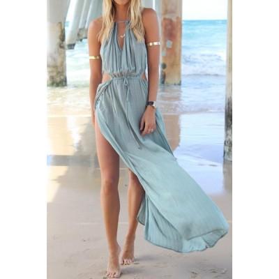 Bohemian Halter Neck Sleeveless Hollow Out High Furcal Dress Light Blue