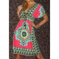 Bohemian Plunging Neck Short Sleeve Printed Dress For Women Plum