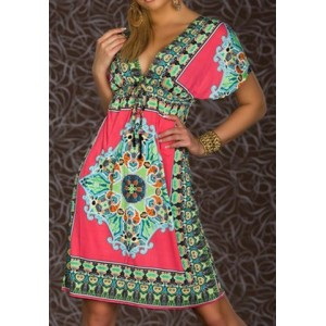 Bohemian Plunging Neck Short Sleeve Printed Dress For Women Plum