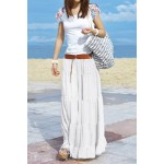 Bohemian Solid Color Loose Fit Long Style Pleated Boho Skirt For Women White Black