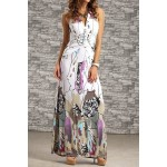 Bohemian Women's Halter Backless Printed Long Dress