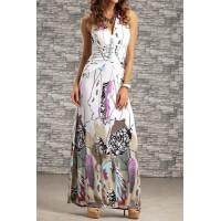 Bohemian Women's Halter Backless Printed Long Dress