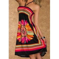 Bohemian Women's Halter Floral Print A-Line Dress black