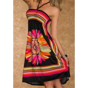 Bohemian Women's Halter Floral Print A-Line Dress black