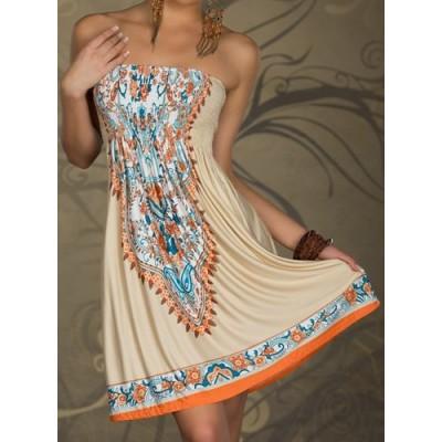 Bohemian Women's Strapless Printed A-Line Dress khaki
