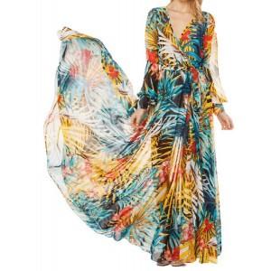 Bohemian Women's V-Neck Printed Long Sleeve Dress