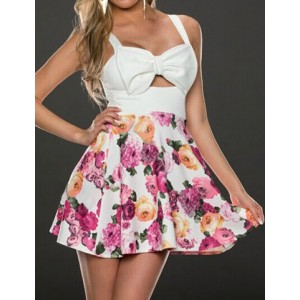 Bow Tie Embellished Sleeveless Low-Cut Design Floral Print Backless Dress For Women pink white