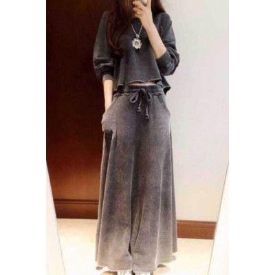 Casual Round Collar Drawstring Pockets Design Solid Color Twinset For Women Gray White