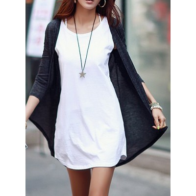Casual Solid Color Simple Design Long Sleeve Cardigan For Women deep gray white black