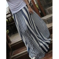 Casual Vertical Striped High Waist Skirt For Women Blue Black