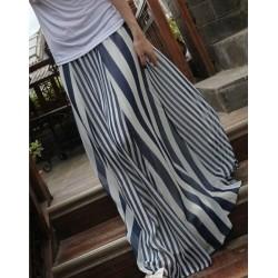 Casual Vertical Striped High Waist Skirt For Women Blue Black