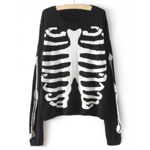 Casual Women's Round Neck Skull Print Long Sleeve Knitted Sweater black