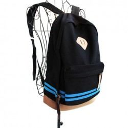 Casual Women's Satchel With Color Block and Striped Design black