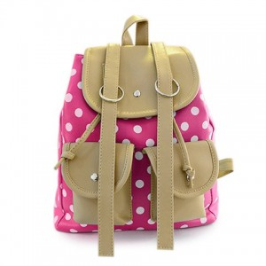 Casual Women's Satchel With Dots and Color Block Design Plum Backpack
