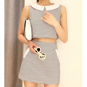 Checked Peter Pan Collar Sleeveless Slimming Suit For Women