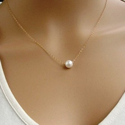 Chic Faux Pearl Pendant Simple Design Necklace For Women Golden