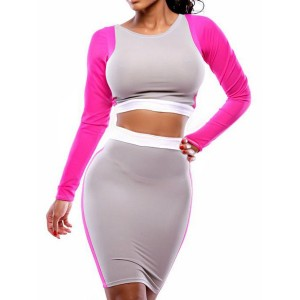Color Block Long Sleeve Round Collar Packet Buttock Slimming Suit For Women purple grey