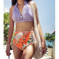Cute Women's Halter High-Waisted Floral Print Bikini Set