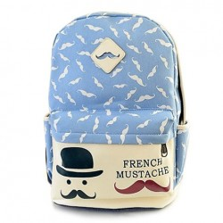 Cute Women's Satchel With Beard and Canvas Design azure white
