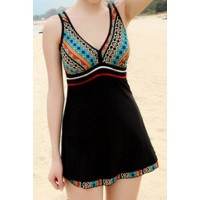 Cute Women's V-Neck Ethnic Print One-Piece Swimsuit