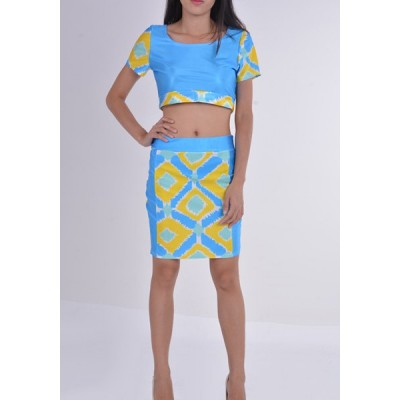 Diamond Check Print Sexy Scoop Collar Crop Top and Packet Buttock Skirt Women's Twinset blue yellow