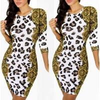 Elastic Long Sleeve Round Collar Gold White Bodycon Dress