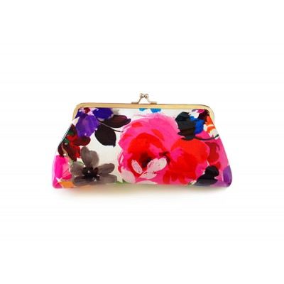 Elegant Women's Clutch Wallet With Floral Print and Kiss-Lock Closure Design