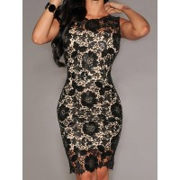 Elegant Women's Jewel Neck Sleeveless Bodycon Lace Dress Black