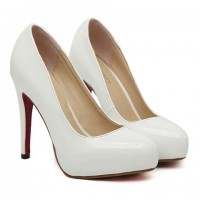 Elegant Women's Pumps With Solid Color and Patent Leather Design white nude black