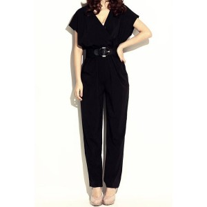 Elegant Women's V-Neck Black Short Sleeve Jumpsuit with Belt