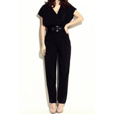 Elegant Women's V-Neck Black Short Sleeve Jumpsuit with Belt