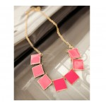 Fashion Candy Color Square Pendant Necklace For Women Rose Black