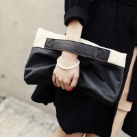Fashion Women's Clutch With Color Block and Foldable Design