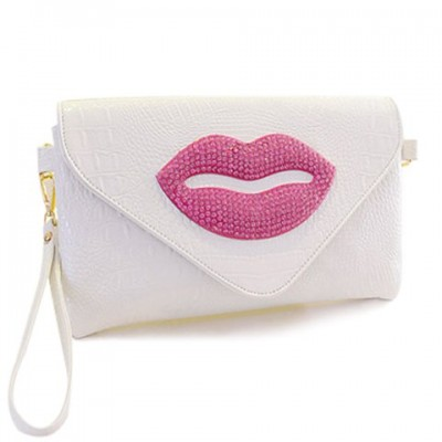 Fashion Women's Shoulder Bag With Lip and Rhinestones Design White