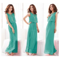 Fashionable and Elegant Style Scoop Neck Sleeveless Solid Color Bohemian Chiffon Maxi Dress For Women green