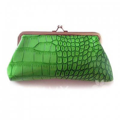 Fashionable Women's Clutch Wallet With Stone Pattern and Kiss-Lock Closure Design Green