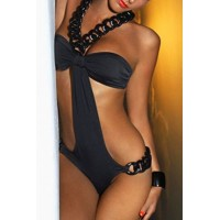 Fashionable Women's Halter One-Piece Black Swimsuit black
