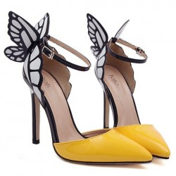 Fashionable Women's Pumps With Butterfly Wings and Color Block Design yellow