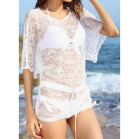 Fashionable Women's Scoop Neck Short Sleeve Openwork Bikini Cover white black