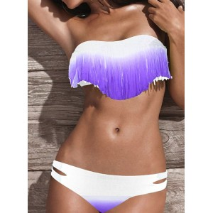 Fashionable Women's Strapless Tassel Ombre Bikini Set purple