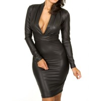 Faux Leather Packet Buttock Sexy Style Plunging Neck Long Sleeve Women's Dress black red