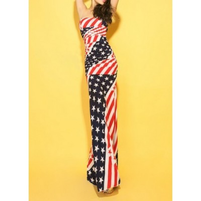 Flag Print Color Block Skinny Sleeveless Sexy Style Low Cut Maxi-Dress For Women usa