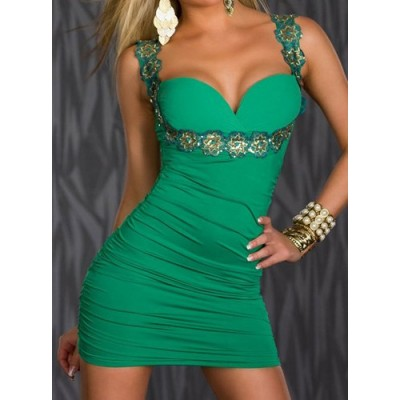 Floral Sequins Embellished Sleeveless V-Neck Solid Color Sexy Dress For Women green