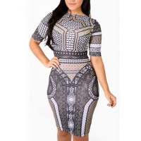 Geometric Print Short Sleeve Round Collar Bodycon Dress